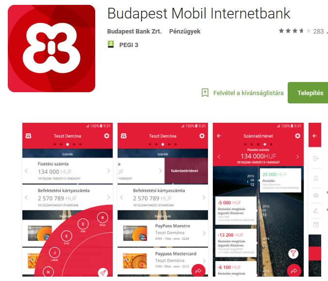 Android mobil app a Budapest Bank netbank mobil alkalmazása