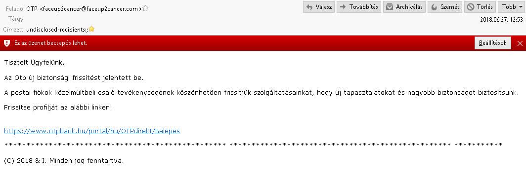 OTP adathalász email tartalma