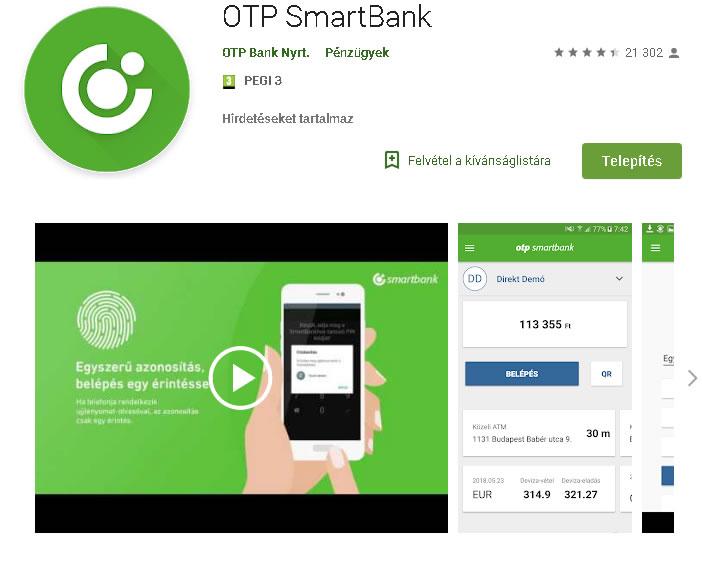 OTPdirekt belépés mobilalkalmazással