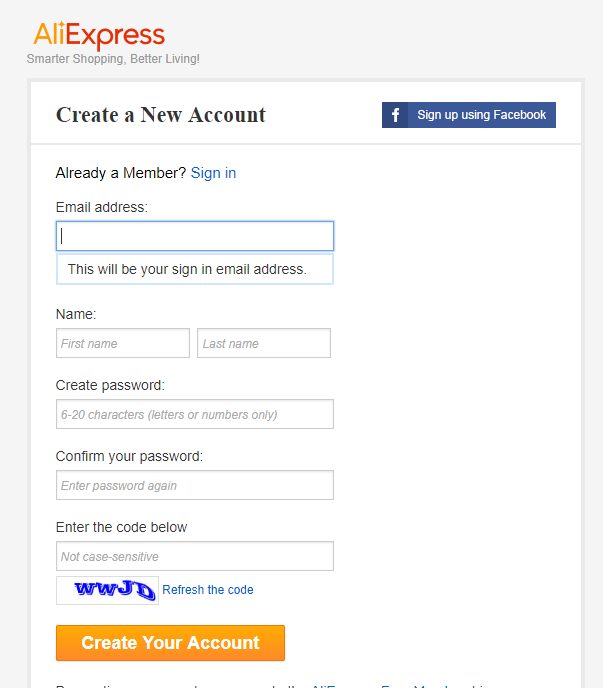 regisztrációs adatok megadása