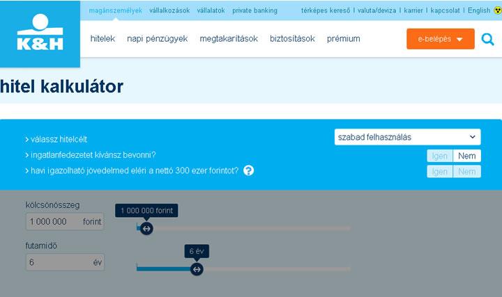 K&H online személyi kölcsön igénylés