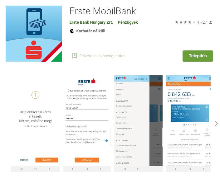 MyErste Erste netbank mobil alkalmazása